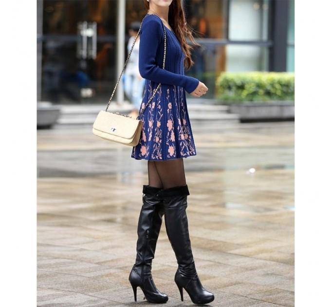 платье С Цветами blue