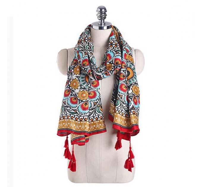 Стильный шарф с кисточками