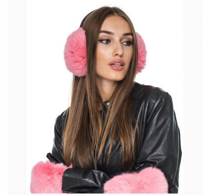 Хутряні навушники кролик pink