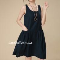 Літній сарафан жіночий синій без рукавів
