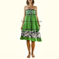Літній сарафан зелений на кожен день бохо