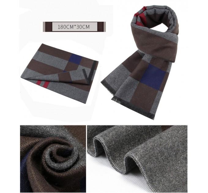 Мужской шарф серо-коричневый