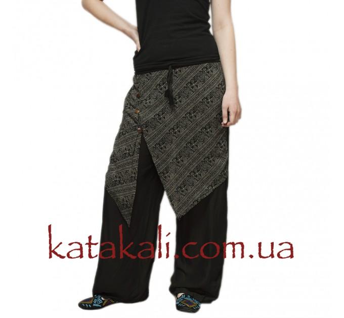 Жіночі брюки вільні чорні бавовняні