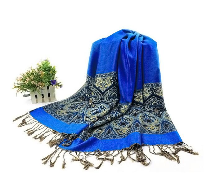Палантин синій орнамент пейслі