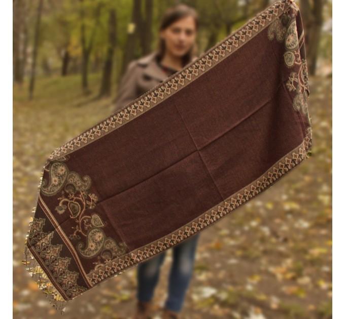 Палантин шарф теплый brown