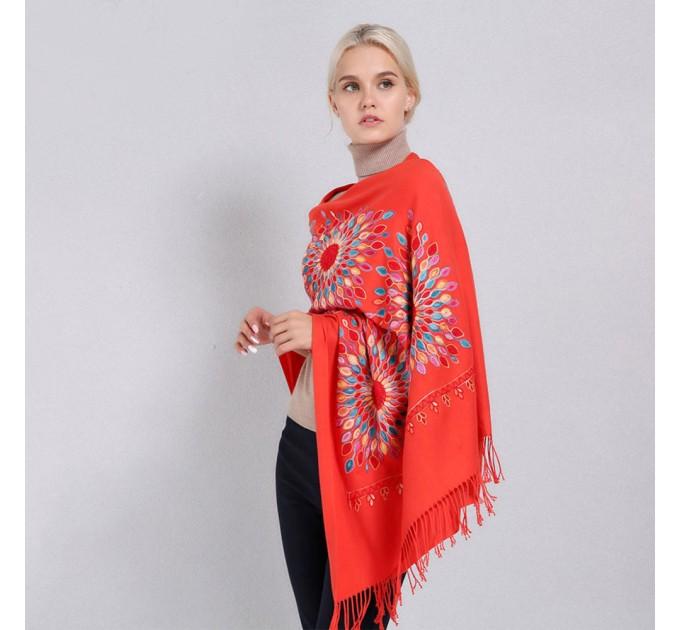 Палантин шарф помаранчевий сонце