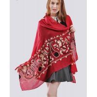 Жіночий шарф бордовий вишитий