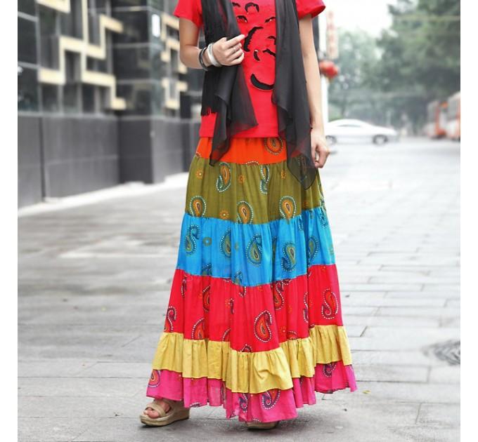 Спідниця довга смугаста кольорова