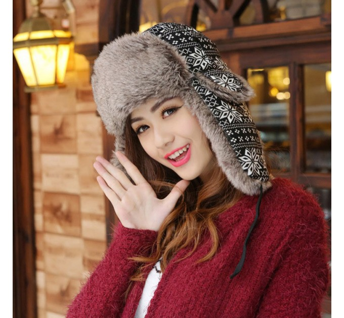 шапка ушанка Снежинки