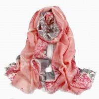 Шарф женский розовый с серым