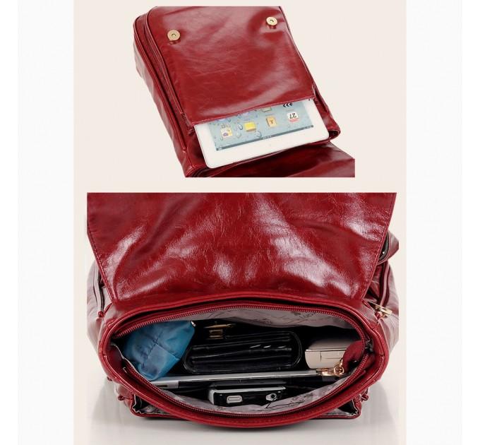 Жіночий рюкзак шкіряний бордо