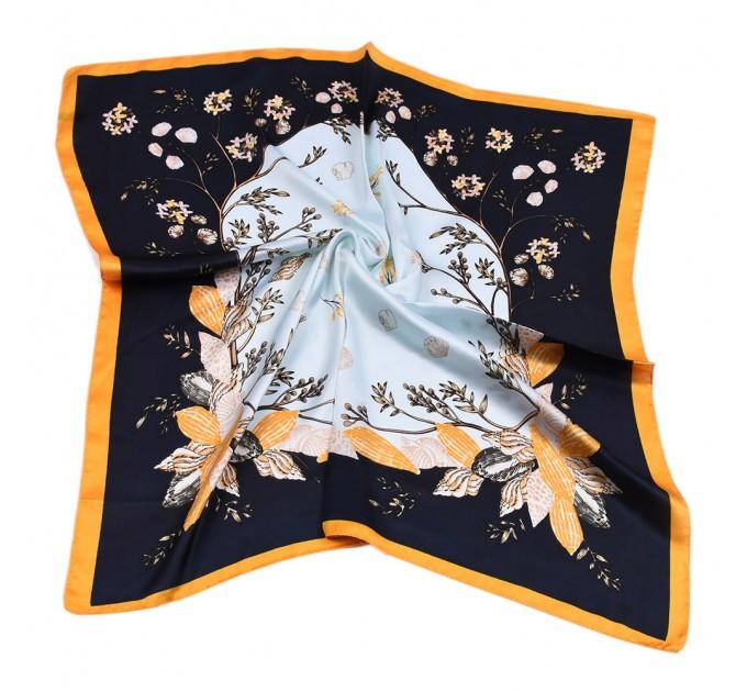 Женский шелковый платок цветы