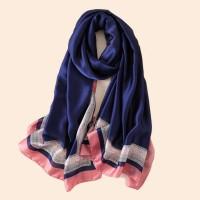 Шелковый женский шарф синий