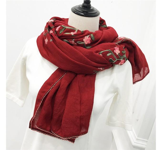 Жіночий шарф бавовна вишня
