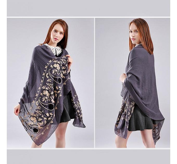 Женский шарф grey вышивка