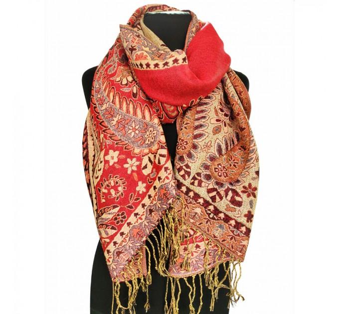 Жаккардовый шарф двусторонний червоний
