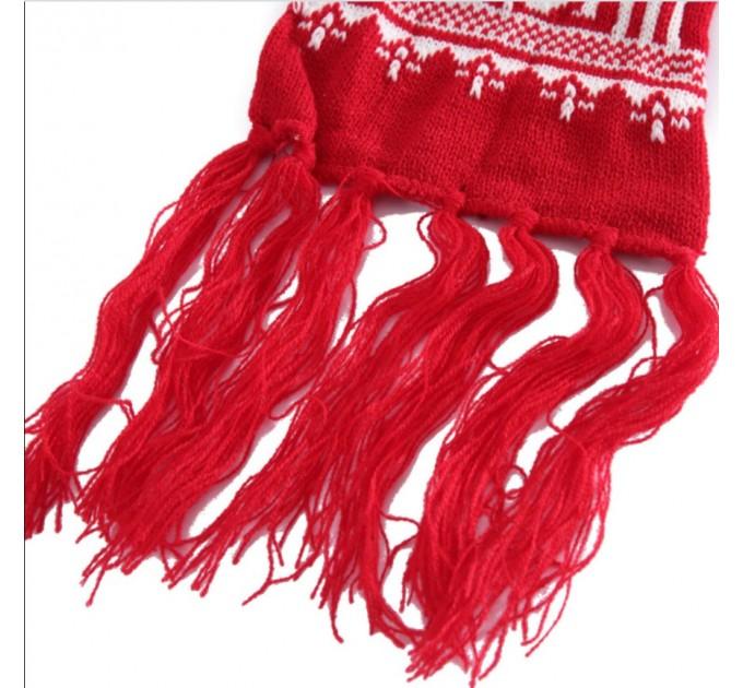 Шарф червоний з оленями новорічний