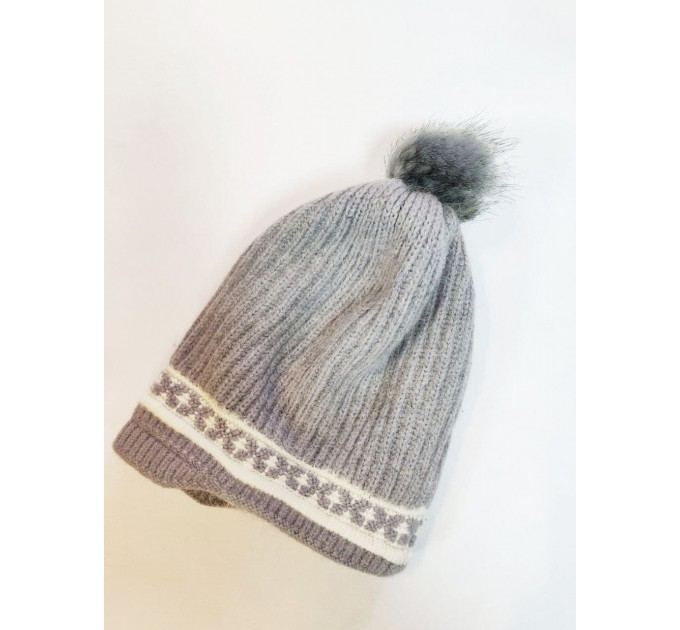 шапка серая ангорка