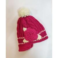 В'язана шапка квітка pink