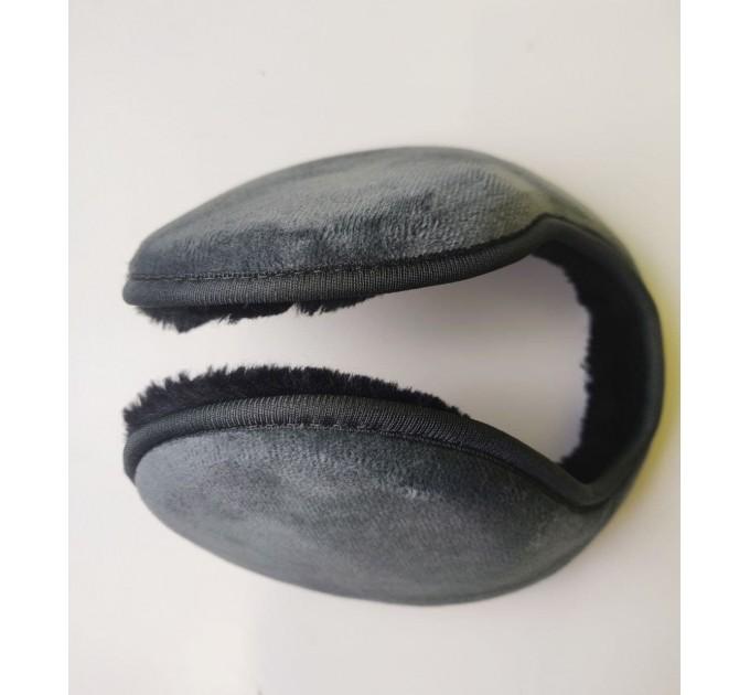 Навушники потиличні чоловічі сірі хутряні