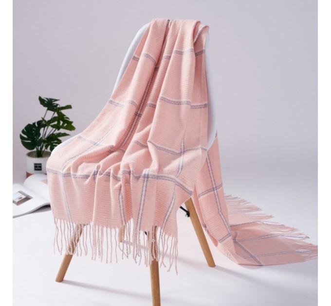 Палантин кашемир розовый