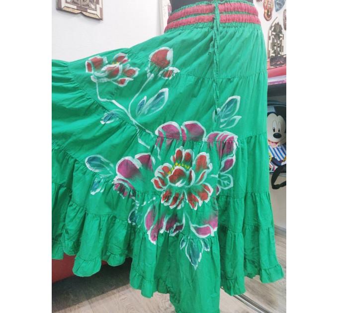 Спідниця довга зелена батик візерунок