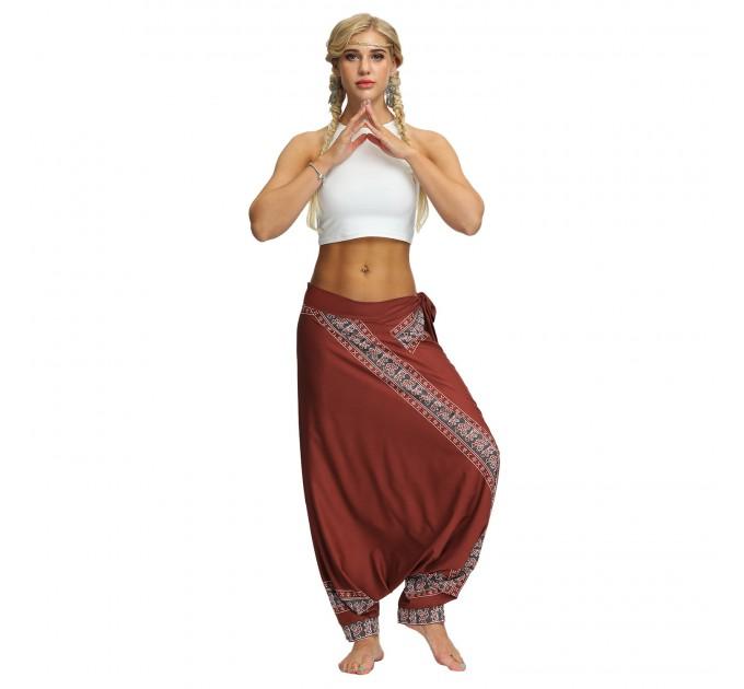 Аладіни штани жіночі коричневі з поясом
