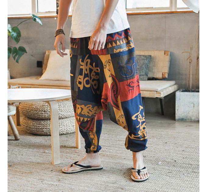 Чоловічі штани з матнею лляні модні