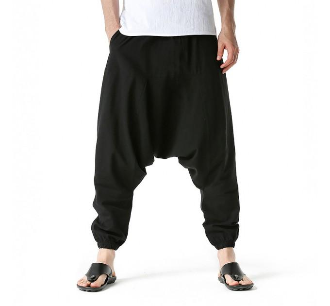 Чоловічі штани шаровари чорні бавовняні