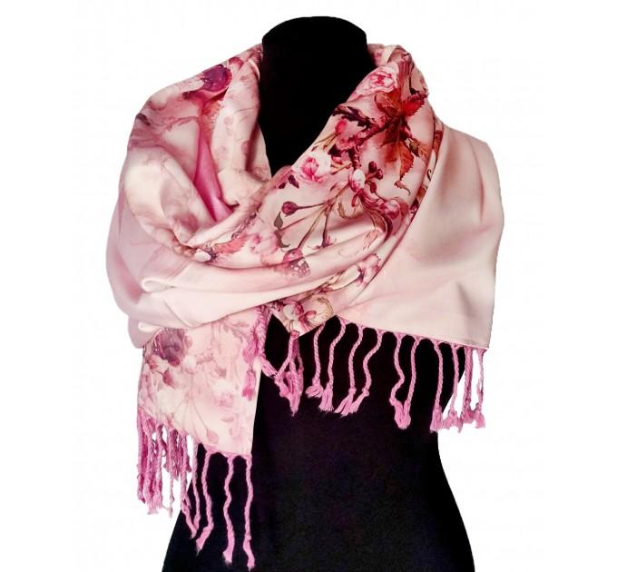 Нежный шелковый палантин с кашемировой подкладкой, розовый