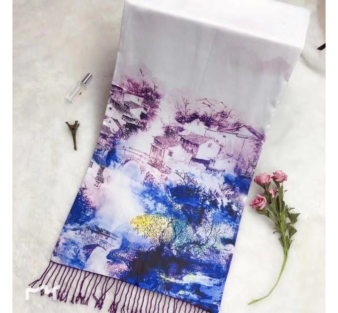 Яскравий шовковий шарф-палантин синій