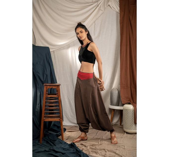 Жіночі штани з матнею східні коричневі