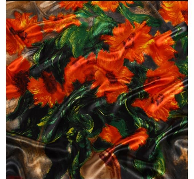 Атласний квадратний шарф соняшники