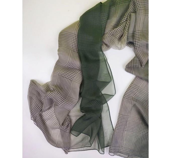 Газовий шарф чорний картатий модний