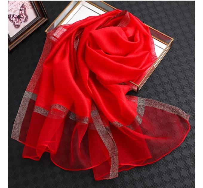 Шифоновий шарф червоний однотонний