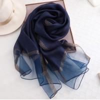 Шифоновий шарф синій однотонний