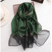 Шифоновий шарф зелений однотонний