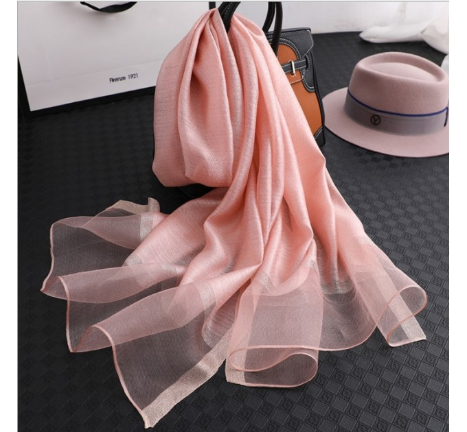 Шифоновий шарф рожевий однотонний