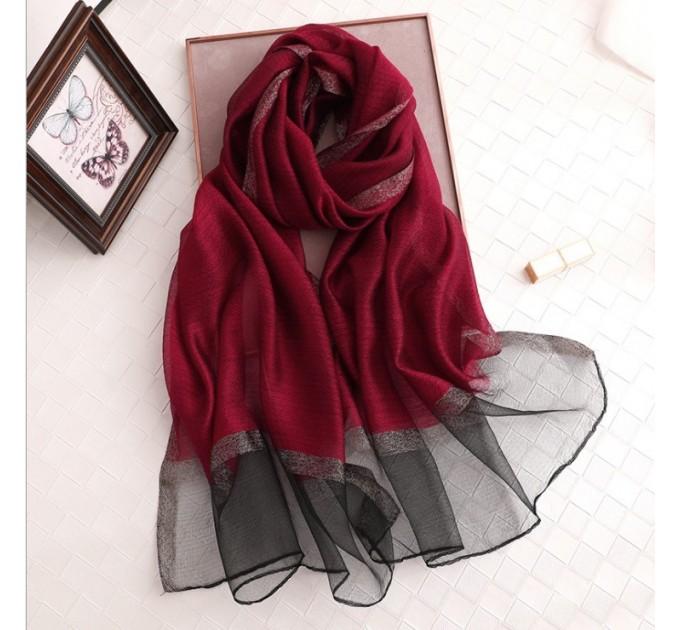 Шифоновий шарф бордовий однотонний