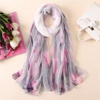Шифоновий шарф з тюльпанами тонкий