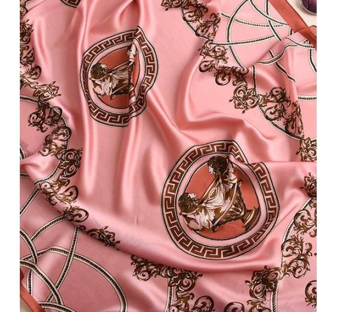 Рожевий шарф хустку шовковий стильний