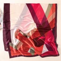 Шовковий шарф червоний з бордовим