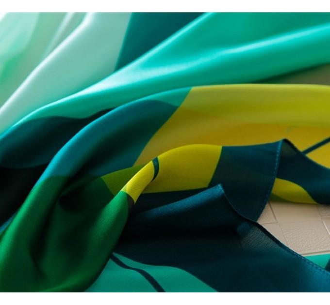 Шовковий шарф зелений з жовтим