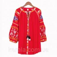 Блузка червона красива вышитая бохо