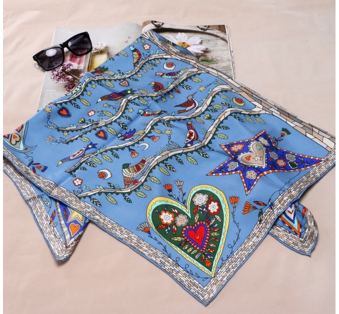 Женский платок богемный синий