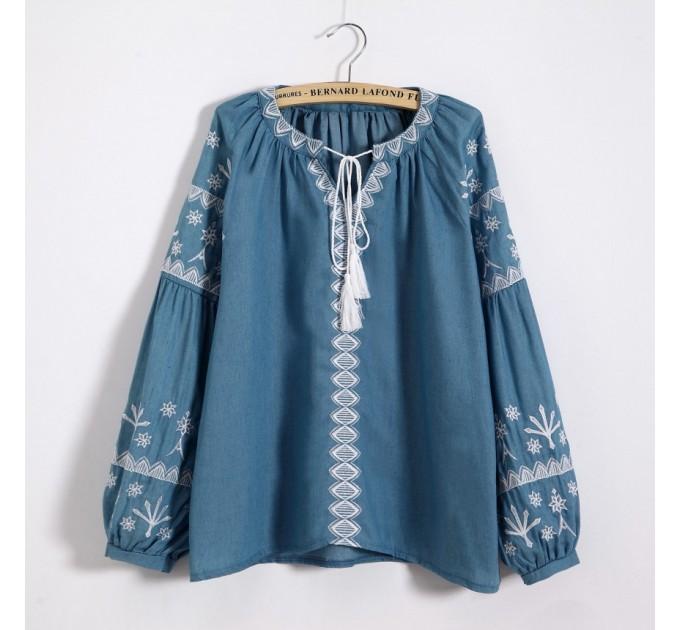Блузка літня блакитна з широкими рукавами