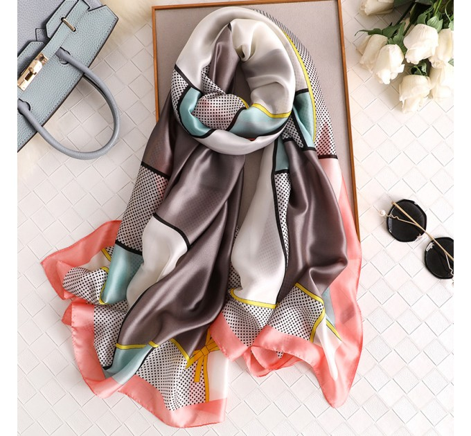 Шовковий шарф сіро-блакитний