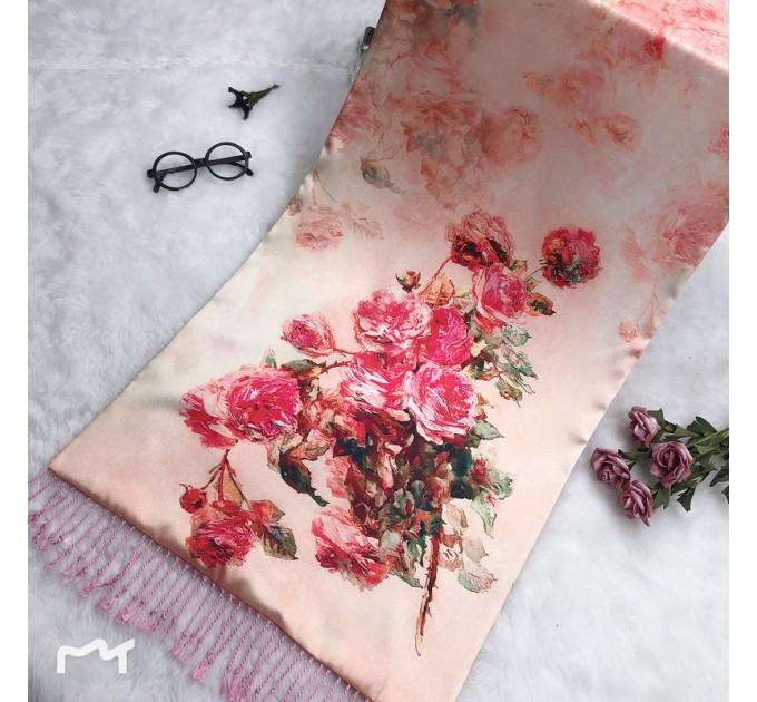 Шовковий шарф-палантин бежевий